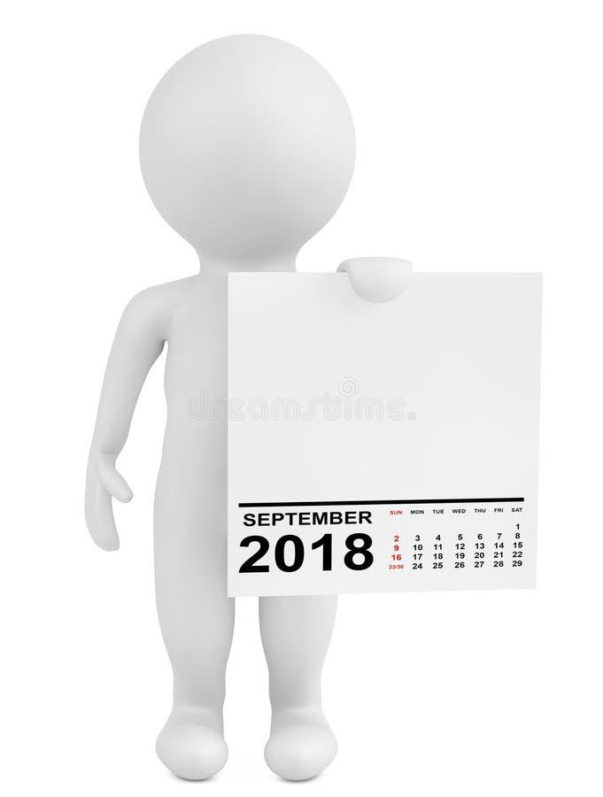 拿着日历2018年9月的字符 3d翻译 皇族释放例证