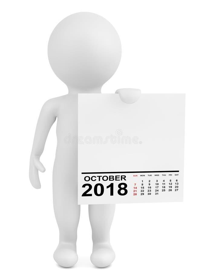 拿着日历2018年10月的字符 3d翻译 库存例证