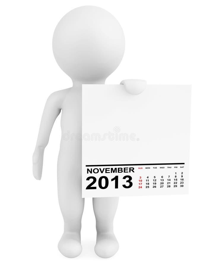 拿着日历2013年11月的字符 向量例证