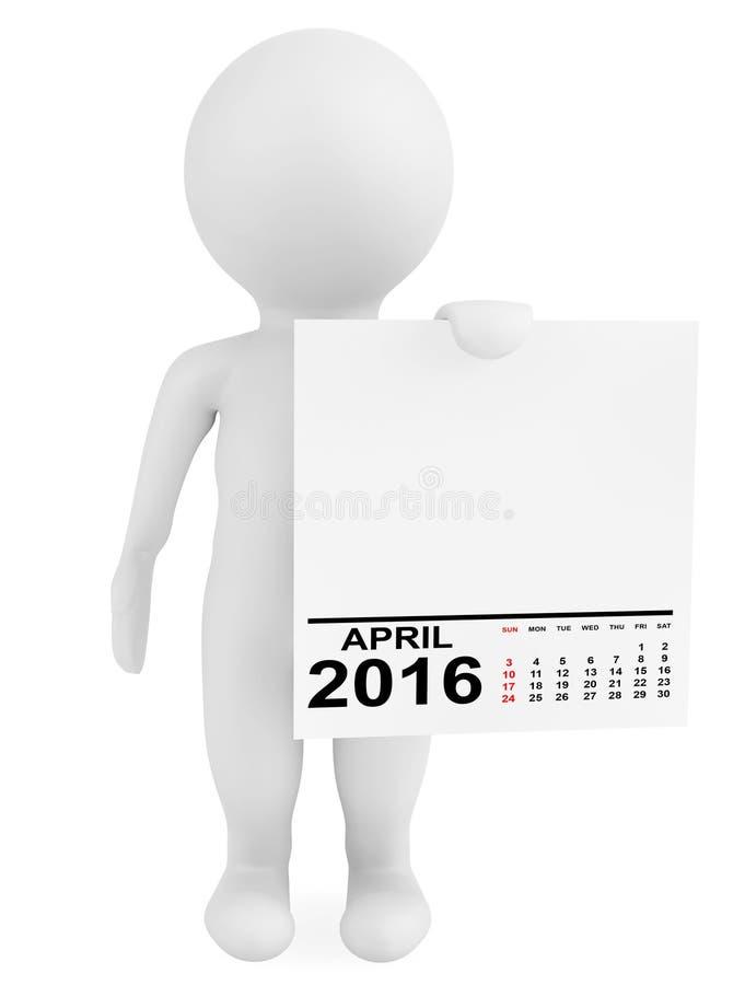 拿着日历2016年4月的字符 向量例证