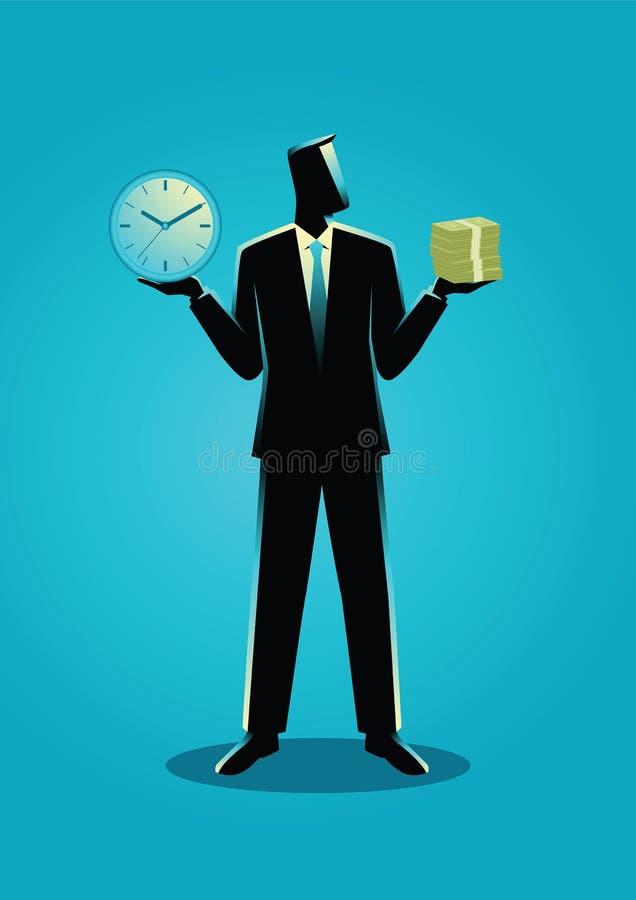 拿着时钟和钞票的商人 库存例证