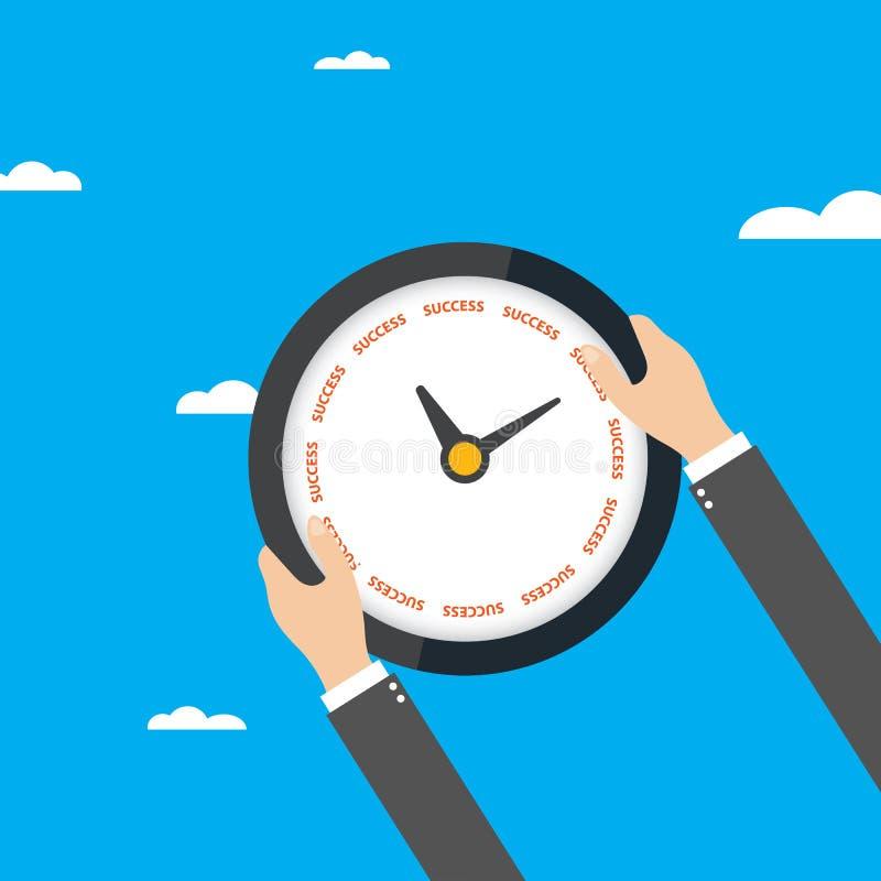 拿着时钟的商人反对蓝天,成功,传染媒介的时刻 库存例证