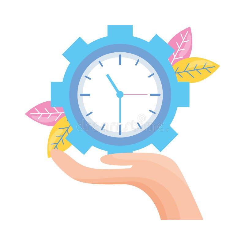 拿着时钟的手 向量例证