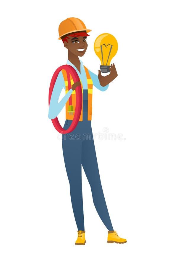 拿着明亮的想法电灯泡的建造者 皇族释放例证