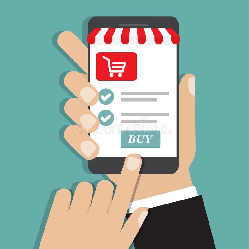 拿着智能手机与和屏幕购买的手 概念网上购物 向量例证