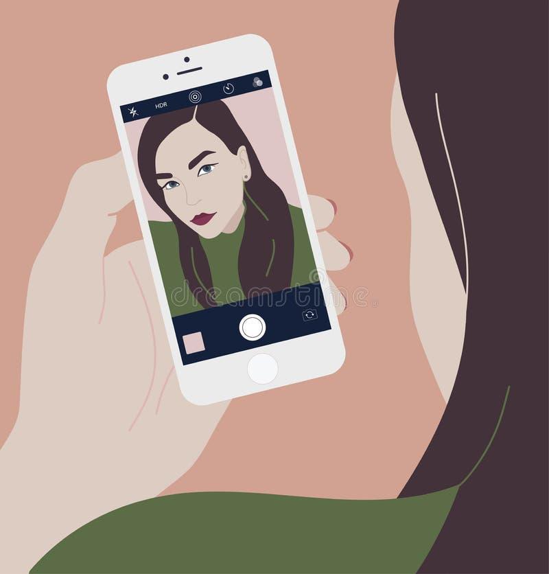 拿着智能手机和做selfie照片的年轻深色的妇女在朝前的照相机 看的长发女孩 向量例证