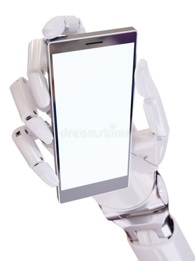 拿着智能手机特写镜头概念3d例证的白色未来派机器人手 库存例证