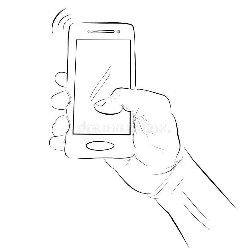 拿着智能手机的手简单的剪影在白色背景 向量例证