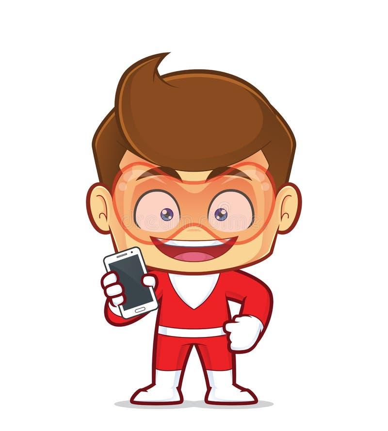 拿着智能手机的超级英雄 皇族释放例证