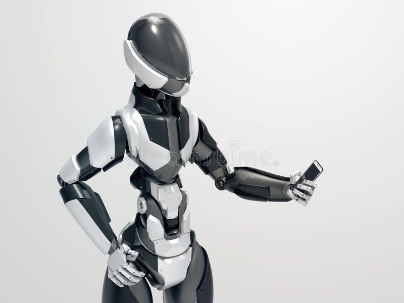 拿着智能手机/3d靠机械装置维持生命的人的现代机器人看手机 免版税库存图片