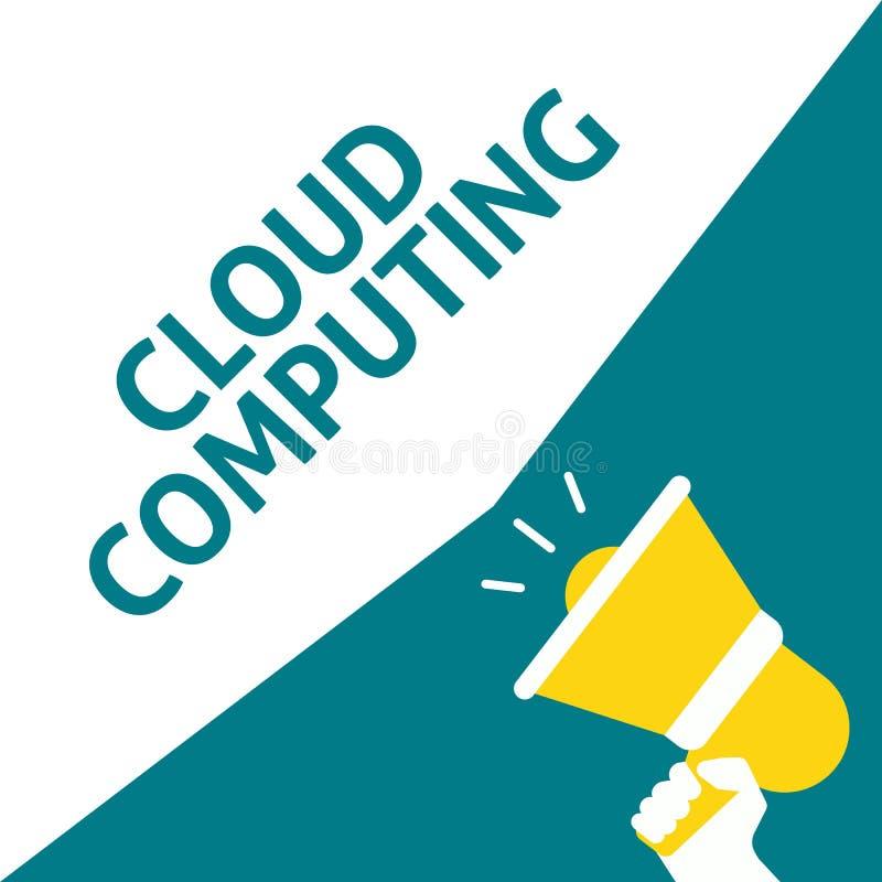 拿着有云彩计算的公告的手扩音机 库存例证