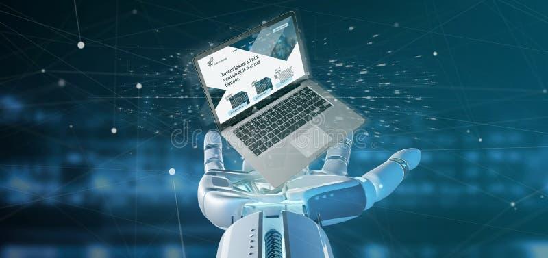 拿着有企业网站模板的靠机械装置维持生命的人手一台膝上型计算机在背景隔绝的屏幕上 皇族释放例证