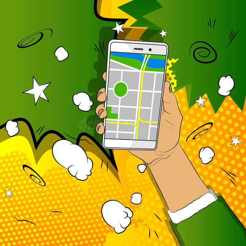 拿着有地图的手白色手机 库存例证