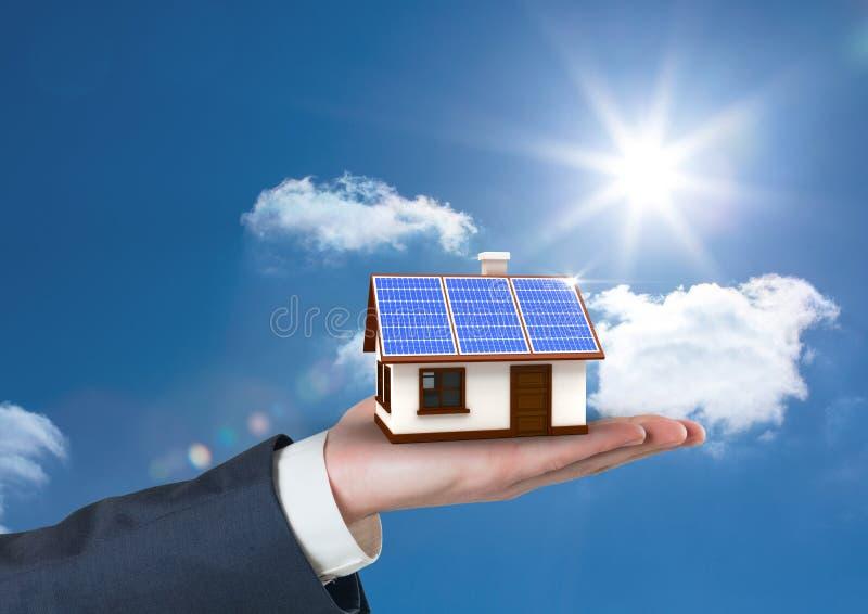 拿着有太阳电池板屋顶的播种的手的数字式综合图象房子反对天空 向量例证