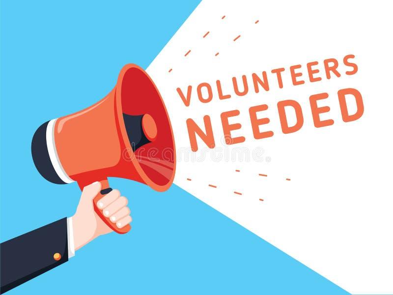 拿着有志愿者的男性手扩音机需要讲话泡影 扩音器 商业的横幅 库存例证