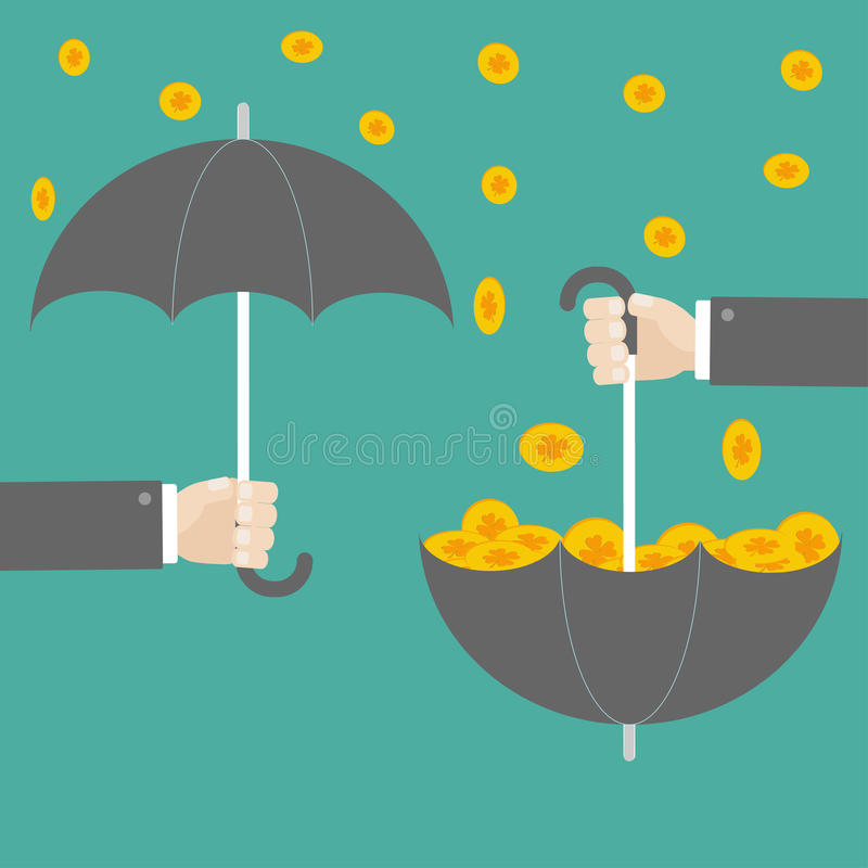 拿着有成功金三叶草硬币的商人手伞 平的设计 皇族释放例证