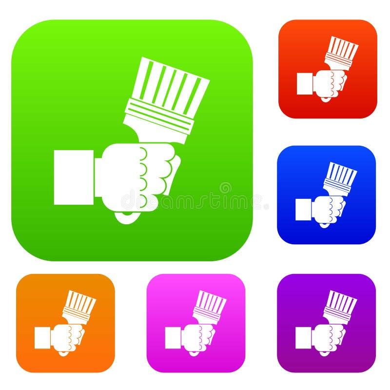 拿着有把柄的手钳子设置了颜色汇集 库存例证
