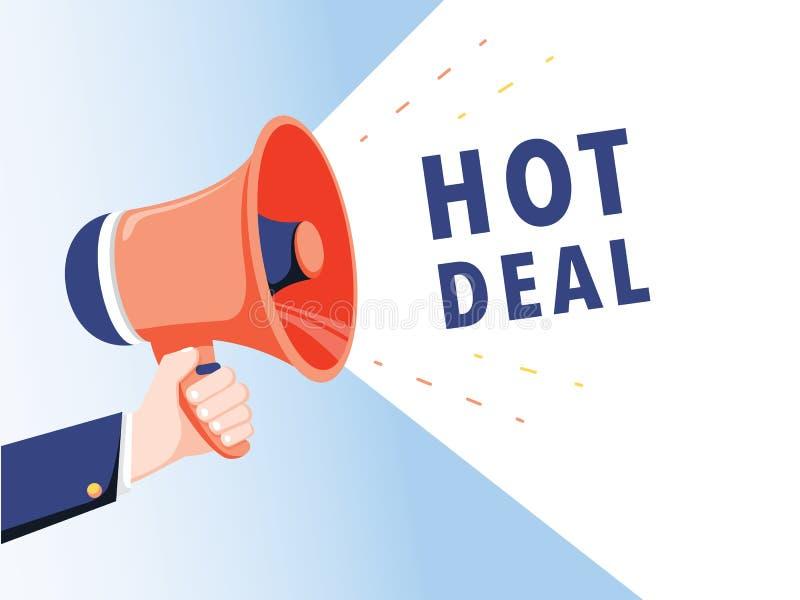 拿着有热的成交讲话泡影的男性手扩音机 扩音器 事务、行销和广告的横幅 向量例证