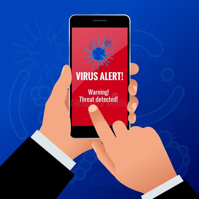 拿着有病毒戒备的商人手一个引起的接触电话在屏幕概念 乱砍智能手机用户 向量例证
