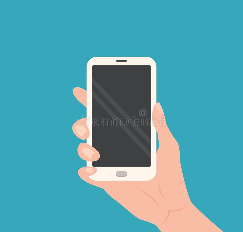 拿着有空的屏幕的人的手智能手机 库存例证