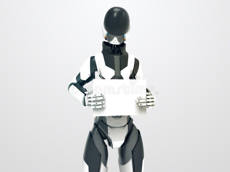 拿着有空的板料的现代机器人空白的委员会/3d靠机械装置维持生命的人 免版税库存图片