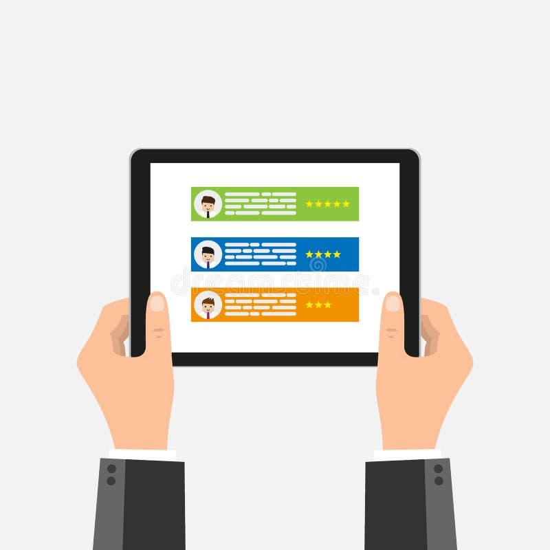 拿着有简历的两只手片剂在屏幕上 求职,聘用,人力资源导航概念 平的样式例证 库存例证