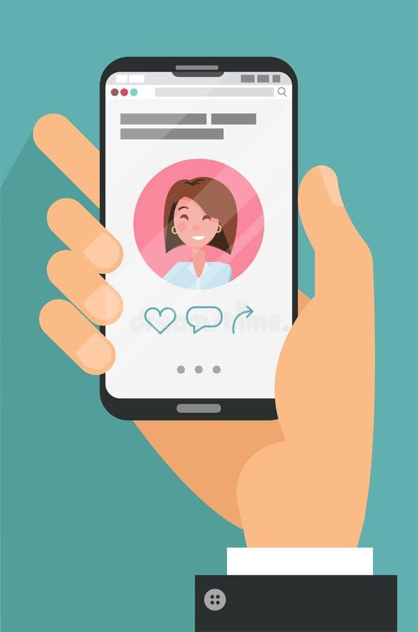 拿着有约会的男性手应用程序外形手机在显示 在网上约会的应用的概念 俏丽的年轻女人帐户 皇族释放例证
