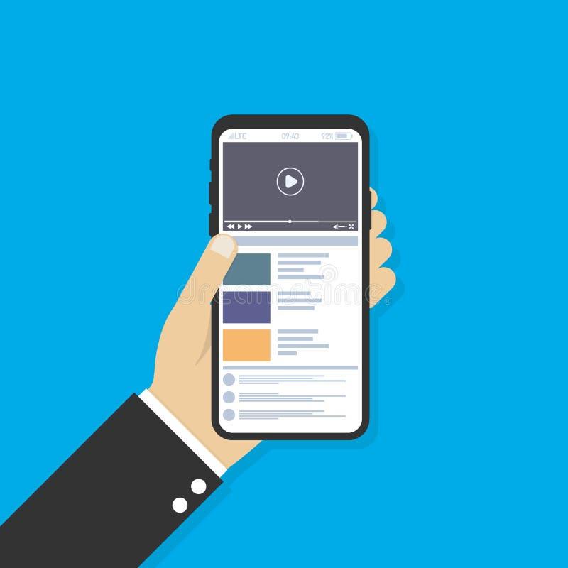 拿着有网上录影的人的手智能手机主持在屏幕上 流动录影放出的技术 也corel凹道例证向量 皇族释放例证