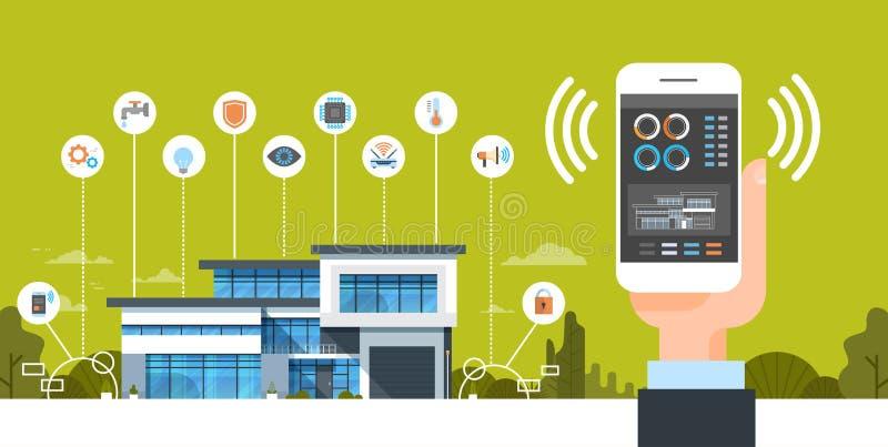 拿着有聪明的录象系统控制界面现代议院自动化概念的手智能手机 向量例证