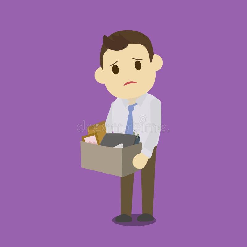 拿着有膝上型计算机的被遣散的商人箱子 皇族释放例证