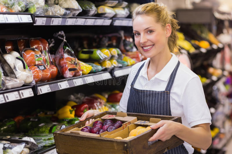 拿着有菜的一名微笑的白肤金发的工作者的画象一个箱子 免版税库存照片