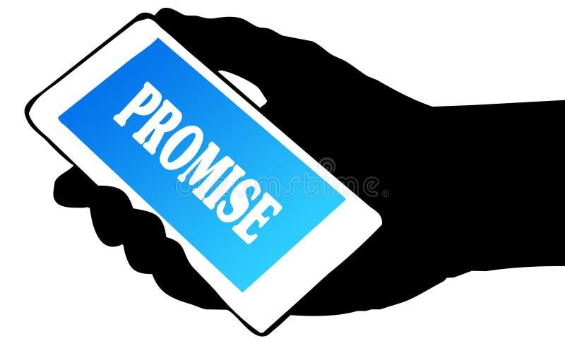 拿着有诺言文本的手剪影电话 库存例证
