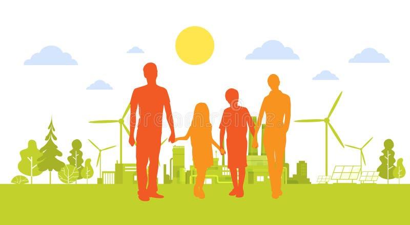 拿着有风轮机干净的自然生态环境概念的剪影家庭手绿色城市 向量例证