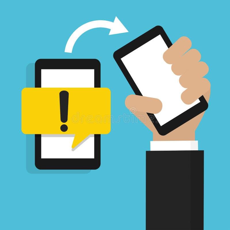 拿着有黄色危险警告注意标志的手手机在讲话泡影 库存例证