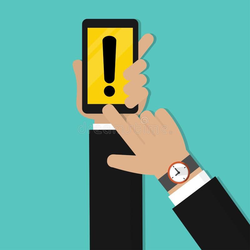 拿着有黄色警告标记的商人手手机 危险警告关注标志 皇族释放例证