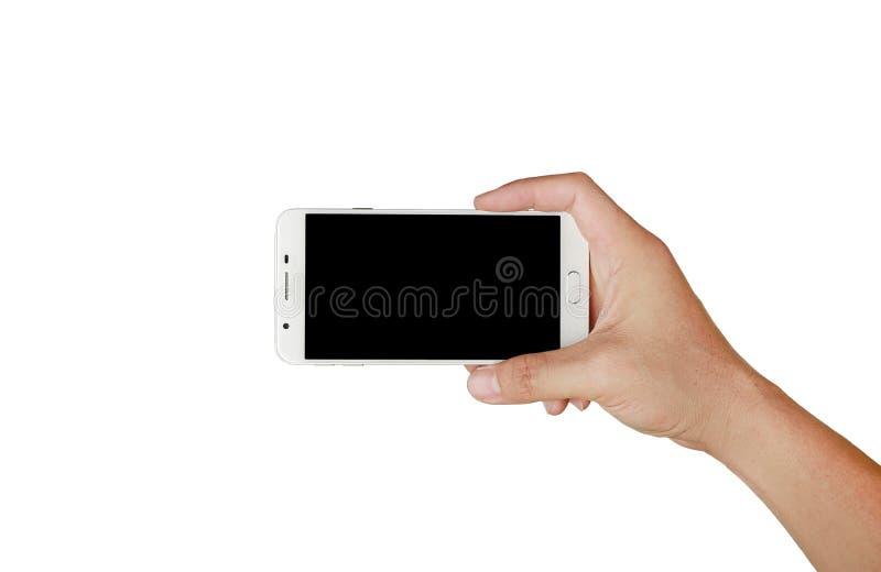 拿着有黑屏幕的一只手流动智能手机 流动摄影概念 查出在白色 库存图片