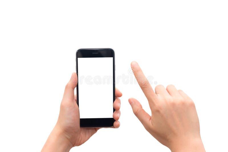 拿着有黑屏的人的手巧妙的电话隔绝在白色背景 免版税图库摄影