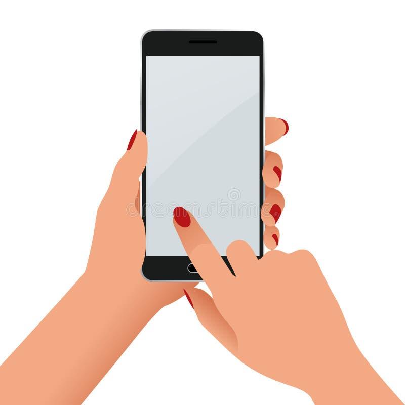拿着有黑屏的女性手一个电话 舱内甲板在白色背景的被隔绝的例证 向量例证