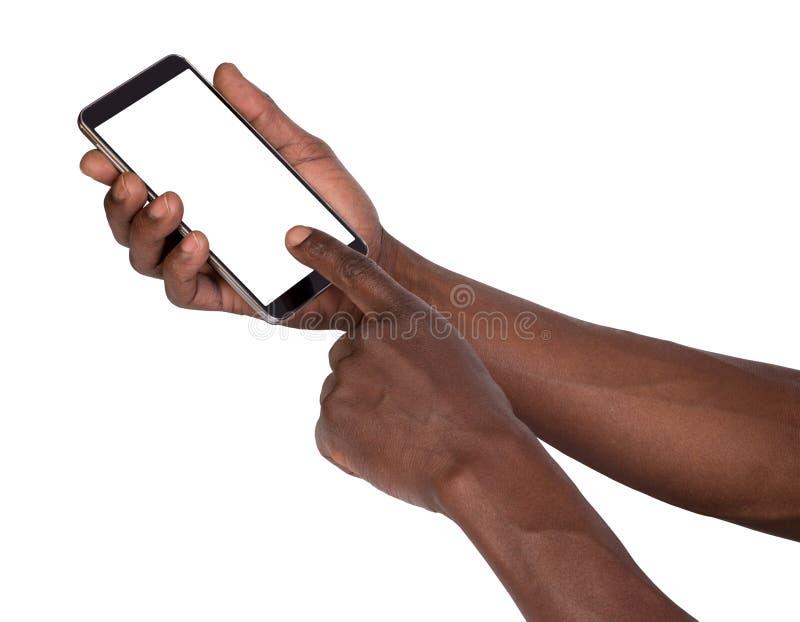 拿着有黑屏的手巧妙的电话 免版税库存照片