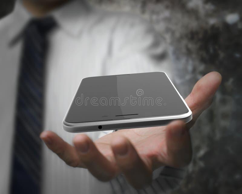 拿着有黑触摸屏幕的商人手巧妙的电话 免版税图库摄影