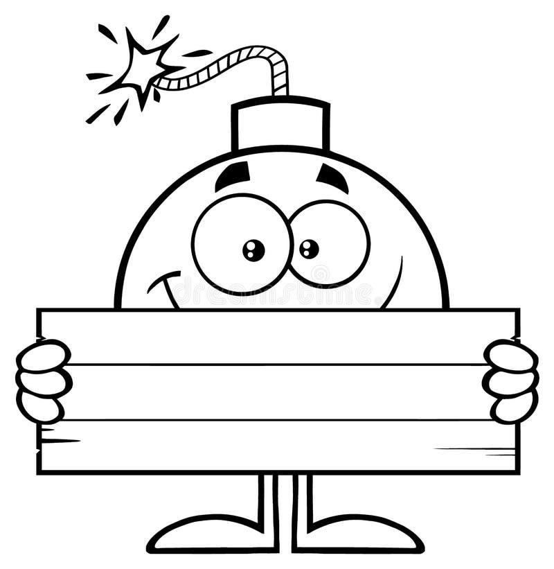 拿着木空白的标志的黑白微笑的炸弹动画片吉祥人字符 向量例证