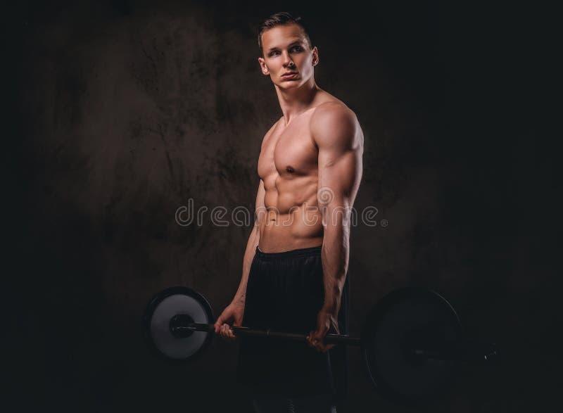 拿着杠铃和做在二头肌的年轻赤裸上身的爱好健美者锻炼 查出在黑暗的背景 库存图片