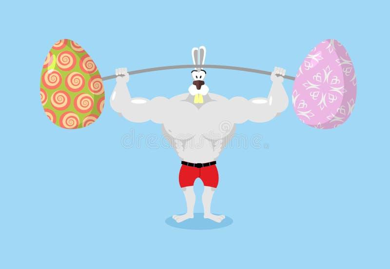 拿着杠铃和复活节彩蛋的强的兔子 野兔的体育 库存例证