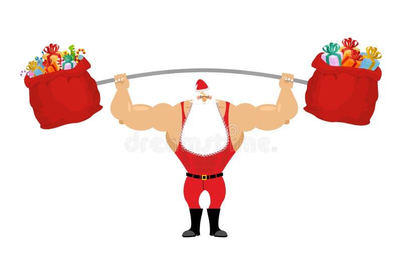 拿着杠铃和礼物袋子的坚强的圣诞老人