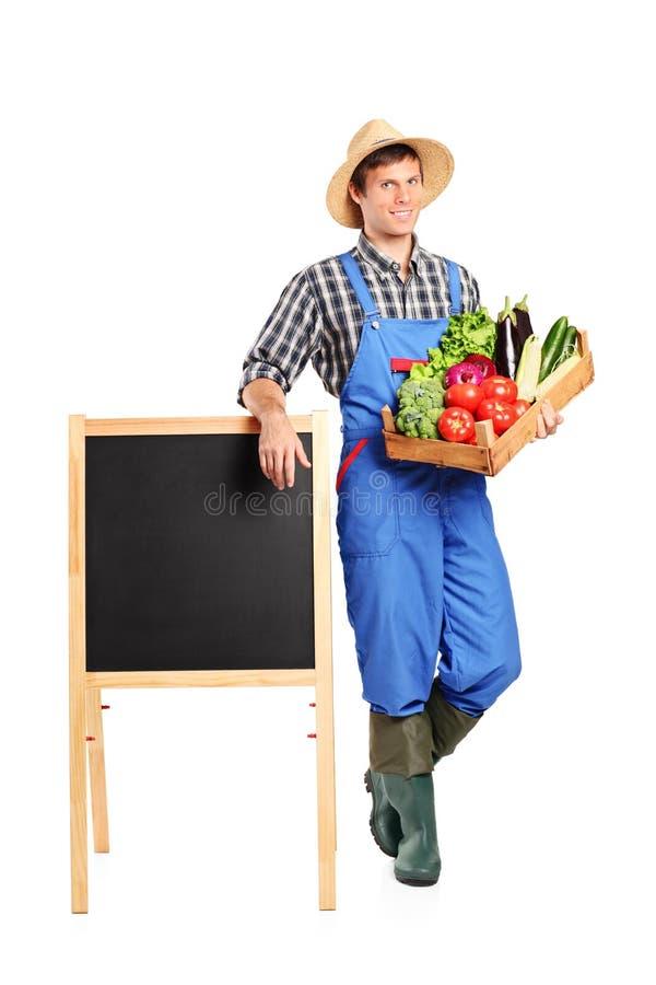 拿着条板箱和摆在董事会旁边的农夫 免版税库存照片