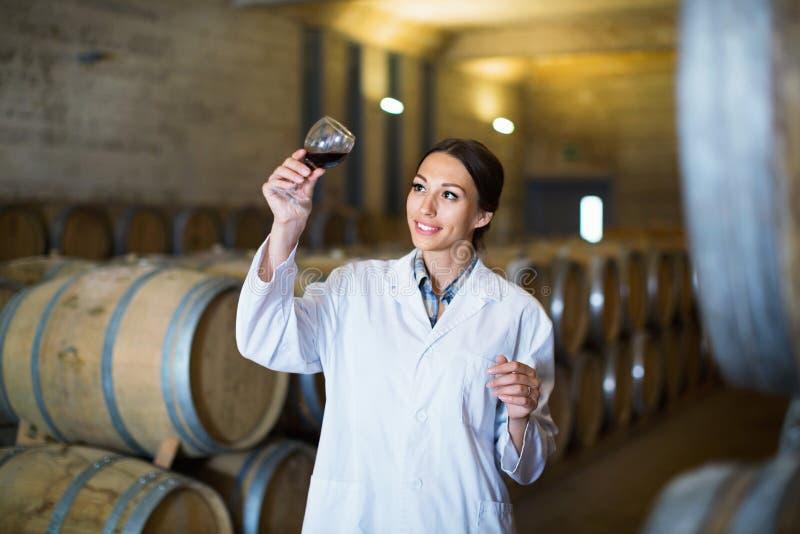 拿着杯在酿酒厂的酒的妇女佩带的外套 库存图片