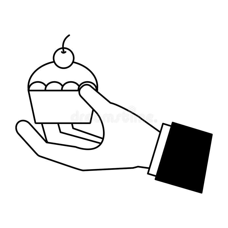 拿着杯形蛋糕的手 向量例证