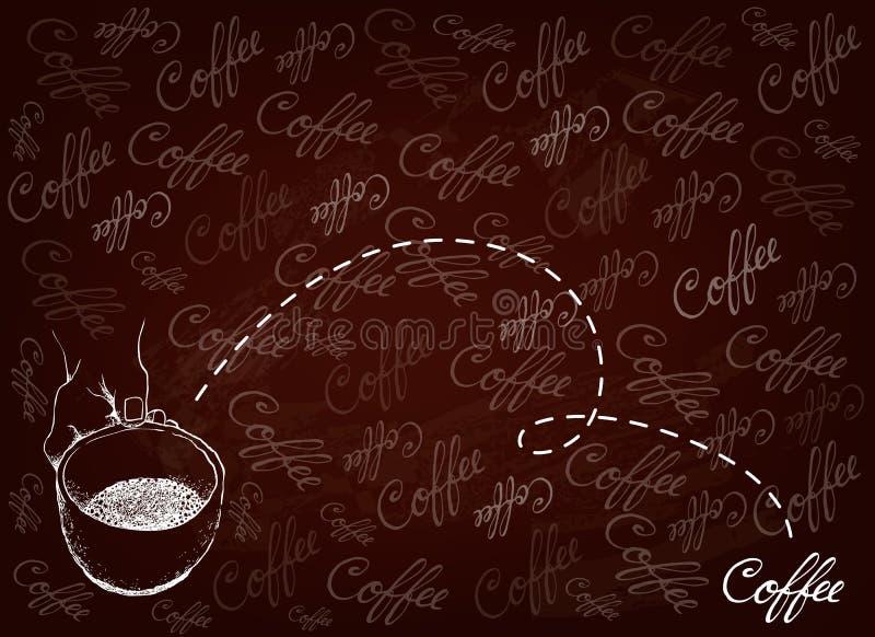 拿着杯热的咖啡的手手拉的背景 库存例证