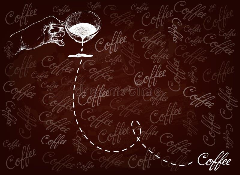 拿着杯热的咖啡的手手拉的背景 皇族释放例证