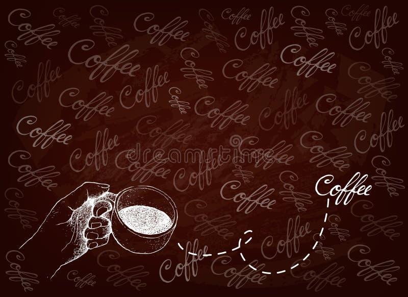 拿着杯热的咖啡的手手拉的背景 向量例证